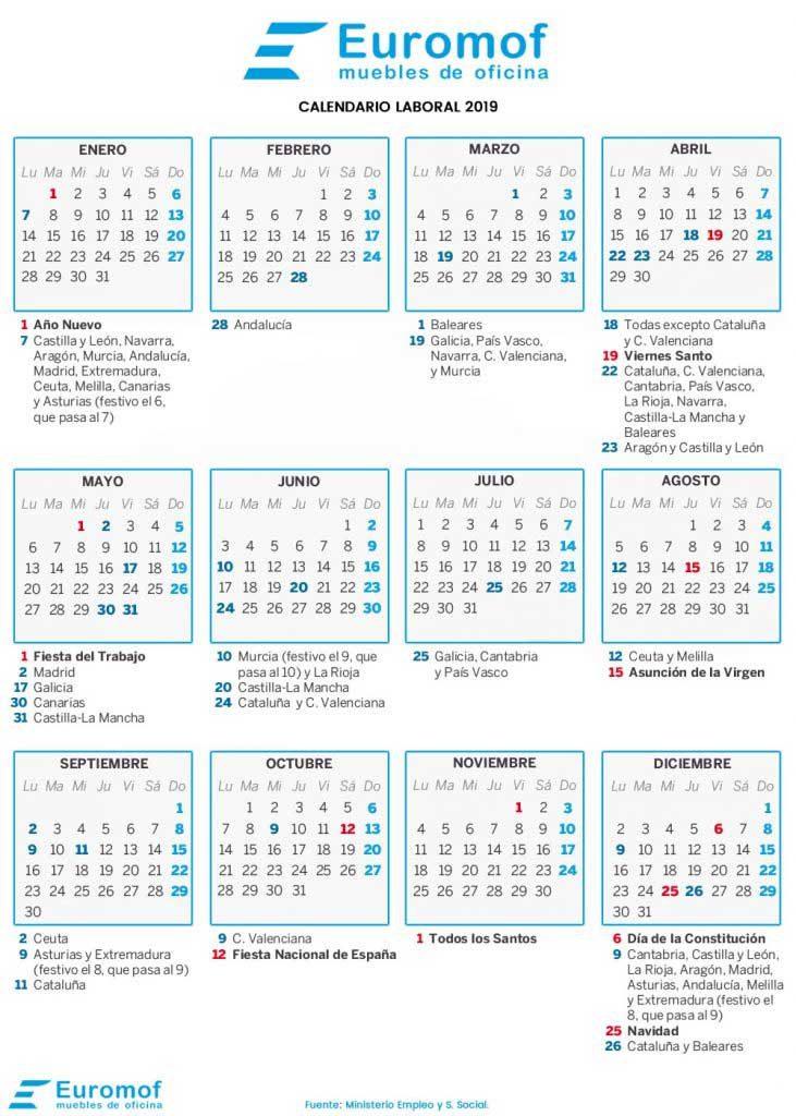 Calendario Laboral 2020 Murcia.Calendario Laboral 2019 Euromof