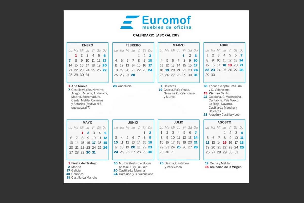 Calendario Laboral Ceuta 2019.Calendario Laboral 2019 Euromof