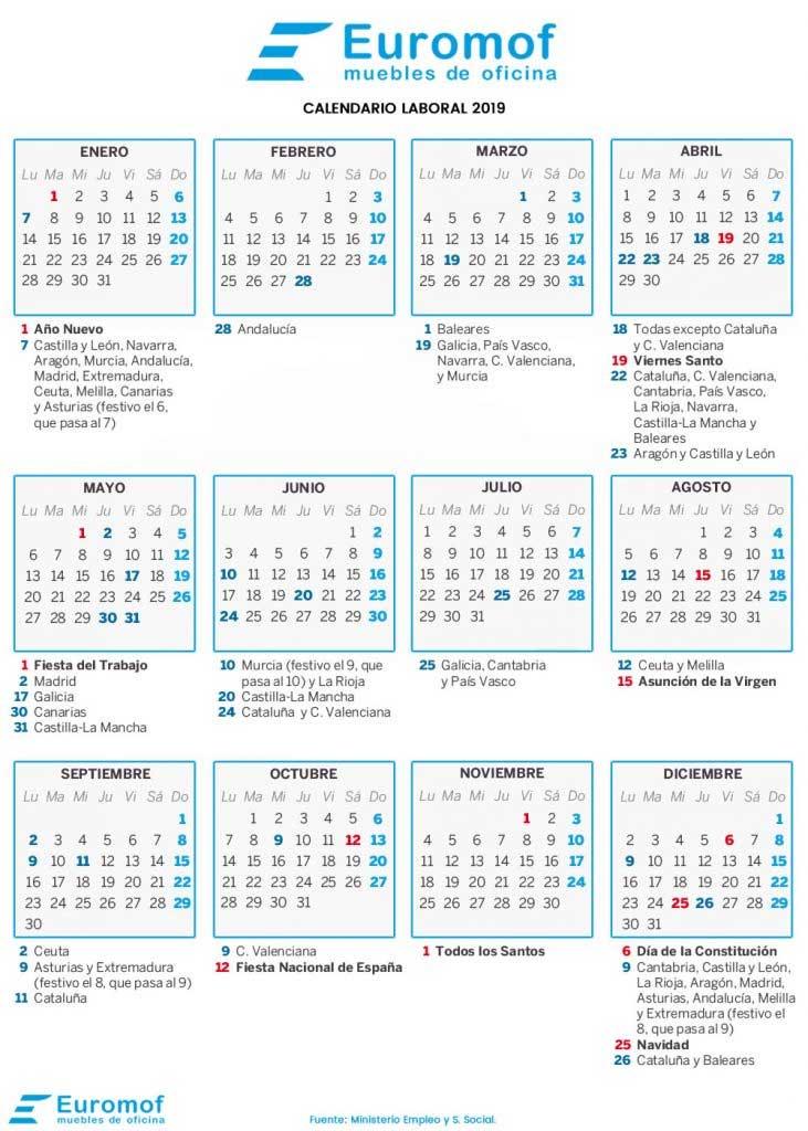 Calendario Laboral 2019 Andalucia.Calendario Laboral 2019 Euromof